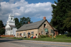 Old Stone Shop and First Congregational Church